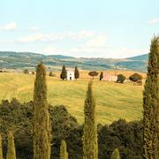 Tuscany landscape, vitaleta chapel, little church in val d orcia, italy Stock Photos