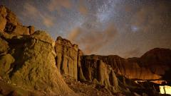 4K Motion Control Dolly Astro Time Lapse of Milky Way over Sandstone -Full Frame Stock Footage