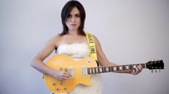 Angry Bride Playing Guitar Stock Footage