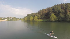 2,7k aerial view of Stand up in a lake 14 Stock Footage