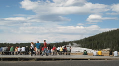 people waiting for geyser at Yellowstone - stock footage