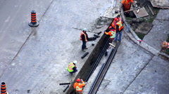 Laying pipes in a trench. Stock Footage
