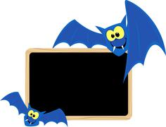 Funny bats with blank signboard Piirros