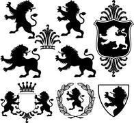 Vector black heraldry silhouettes Stock Illustration