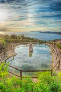 pond by the sea - stock photo