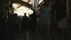 people walking through a European marketplace - stock footage