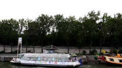 Along the Seine on a pleasure boat. Bridge of Alexandre III. Time lapse Stock Footage