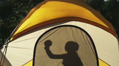 Girl dancing in a tent Stock Footage