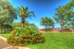 hdr garden - stock photo