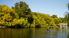 Row boats on a pond Stock Footage