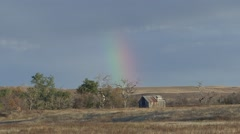 Land Use Western Region Fall Abandoned Homestead Rainbow Prairie Stock Footage