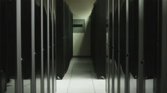 Man dancing in a server room Stock Footage