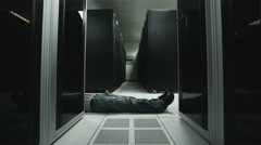 Body in the server room Stock Footage