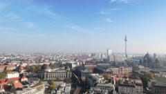 Panoramic Berlin View with trains passing between Buildings | Very High View Stock Footage