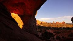 4K Arches 09 Tilt Down Double Arch Sunset Utah USA Stock Footage