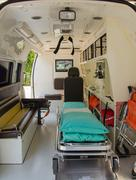 inside of an ambulance for the hospital - stock photo