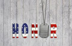 military dog tag honor - stock illustration