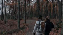 Two hikers in the woods Stock Footage