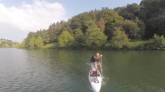 2,7k aerial view of Stand up in a lake 5 Stock Footage