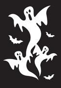Halloween Ghost and Bats on Black Background Stock Illustration