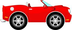 funny red convertible - stock illustration