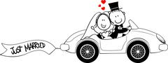 bride and groom on car - stock illustration