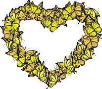 Heart shape frame of butterflies Piirros