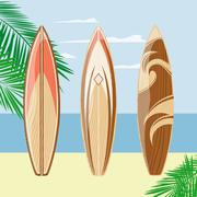 Three surfboards on a beach background Stock Illustration