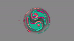 COLORFUL YIN and YANG symbol. ALPHA MATTE. Stock Footage