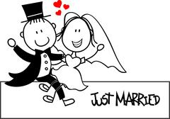 bridal couple cartoon - stock illustration