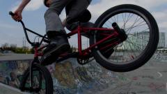 Slow Motion BMX stall on bowl in Skatepark Stock Footage