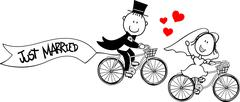Bride and groom on bicycles Stock Illustration