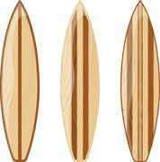 Wooden surfboards isolated Stock Illustration
