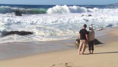 Couple watching waves Stock Footage