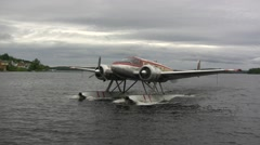 Norseman Floatplane Coming to a Stop Stock Footage