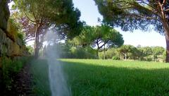 Garden Irrigation Sprinkler POV  F Stock Footage