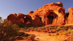 4K Arches 13 Windows Section Sunset Double Arch Utah USA Stock Footage