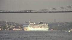 White cruise, Bosporus Bosphorus Luxury, liner, passenger ship crossing, voyage Stock Footage