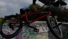 Close up of BMX tail whip slow motion Stock Footage