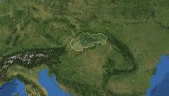 Slovakia. 3d earth in space - zoom in on Slovakia outlined on green 4k Arkistovideo