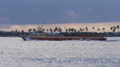 Fast small cargo ship vessel 3 Stock Footage