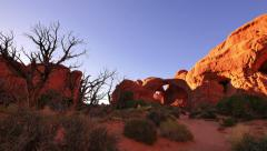 4K Arches 15 Windows Section Sunset Double Arch Utah USA Stock Footage