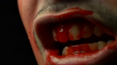 4K Closeup Horror Evile Zombie Bloody Mouth Stock Footage