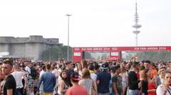 Huge Happy Crowd Audience Applaud Standing Moving Cheering Kia Fan Arena Hamburg Stock Footage