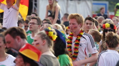 Closeup Portrait Young Boy Girl Painted Face German Flags Colorful Crowd Stadium Stock Footage