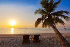 Chairs on maldives beach Stock Photos