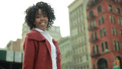 African American black woman in city smile happy face 4k Stock Footage