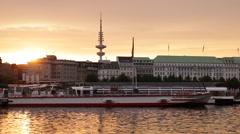 Hamburg Skyline Heinrich Hertz Turm Tv Tower Sunset Fairmont Hotel Cityscape Day Stock Footage