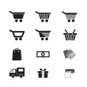 Vector set shopping cart icon Stock Illustration
