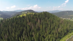 mountain valley from height .Aerial    panorama - stock footage